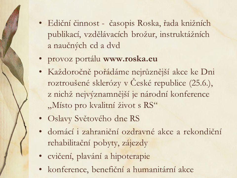 •Ediční činnost - časopis Roska, řada knižních publikací, vzdělávacích brožur, instruktážních a naučných cd a dvd •provoz portálu www.roska.eu •Každor