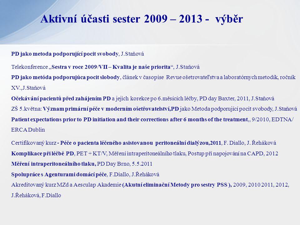 """Aktivní účasti sester 2009 – 2013 - výběr PD jako metoda podporující pocit svobody, J.Staňová Telekonference """"Sestra v roce 2009/VII – Kvalita je naše"""