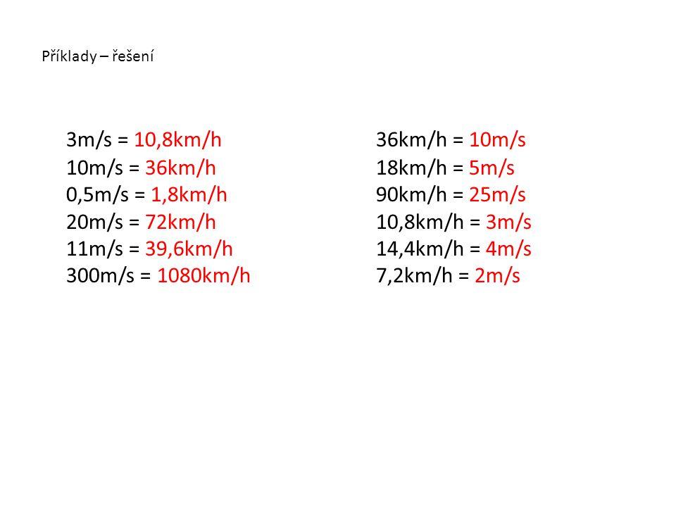 Příklady – řešení 3m/s = 10,8km/h 10m/s = 36km/h 0,5m/s = 1,8km/h 20m/s = 72km/h 11m/s = 39,6km/h 300m/s = 1080km/h 36km/h = 10m/s 18km/h = 5m/s 90km/