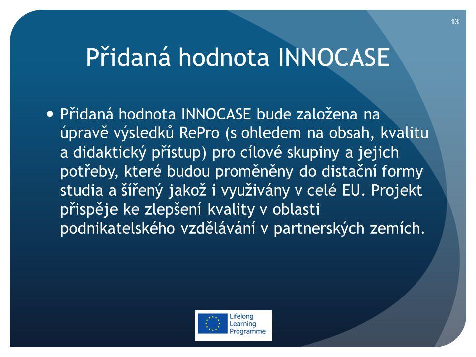 Přidaná hodnota INNOCASE  Přidaná hodnota INNOCASE bude založena na úpravě výsledků RePro (s ohledem na obsah, kvalitu a didaktický přístup) pro cílové skupiny a jejich potřeby, které budou proměněny do distační formy studia a šířený jakož i využivány v celé EU.