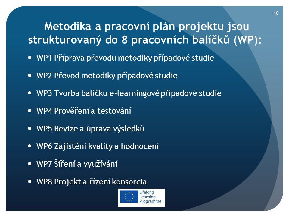 Metodika a pracovní plán projektu jsou strukturovaný do 8 pracovních balíčků (WP):  WP1 Příprava převodu metodiky případové studie  WP2 Převod metodiky případové studie  WP3 Tvorba baličku e-learningové případové studie  WP4 Prověření a testování  WP5 Revize a úprava výsledků  WP6 Zajištění kvality a hodnocení  WP7 Šíření a využívání  WP8 Projekt a řízení konsorcia 16