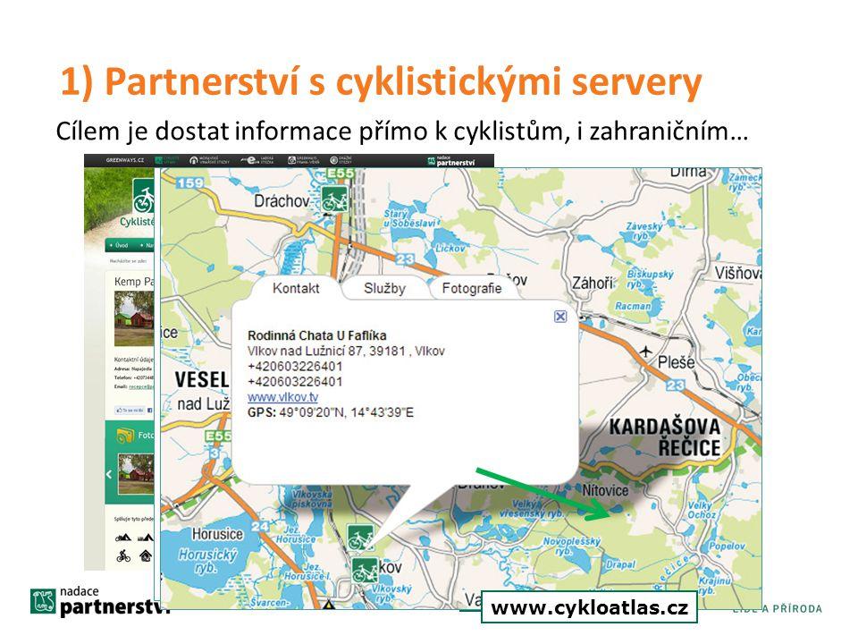 www.cyklistevitani.cz Cílem je dostat informace přímo k cyklistům, i zahraničním… www.cyklotoulky.cz cyklo.turistika.cz www.cykloatlas.cz 1) Partnerst
