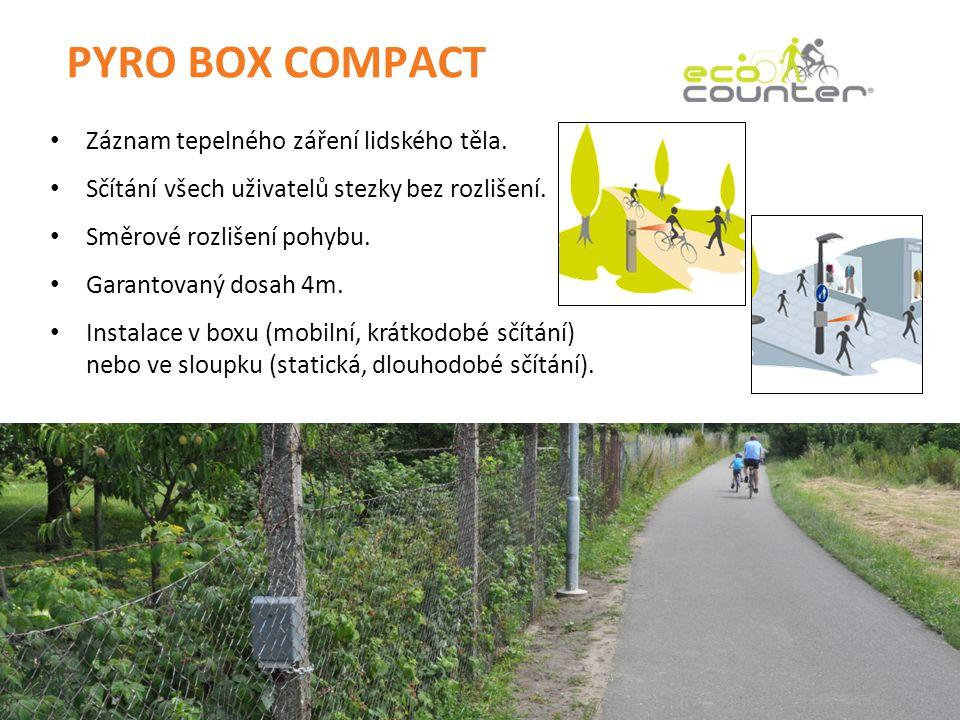 PYRO BOX COMPACT • Záznam tepelného záření lidského těla. • Sčítání všech uživatelů stezky bez rozlišení. • Směrové rozlišení pohybu. • Garantovaný do