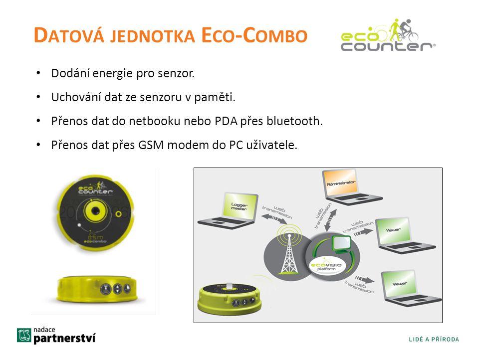 D ATOVÁ JEDNOTKA E CO -C OMBO • Dodání energie pro senzor. • Uchování dat ze senzoru v paměti. • Přenos dat do netbooku nebo PDA přes bluetooth. • Pře