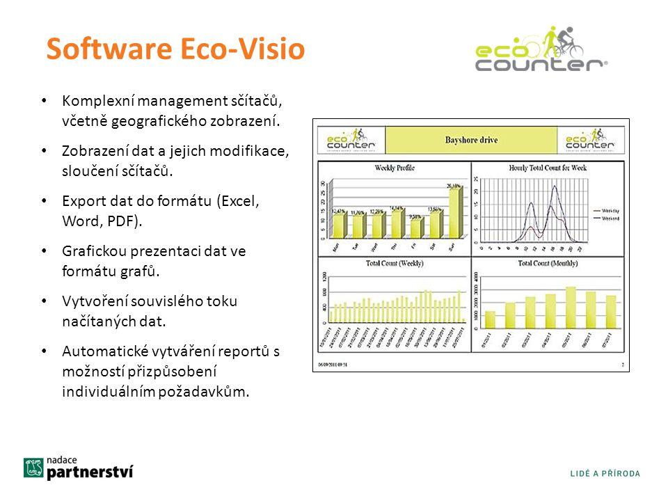 Software Eco-Visio • Komplexní management sčítačů, včetně geografického zobrazení. • Zobrazení dat a jejich modifikace, sloučení sčítačů. • Export dat