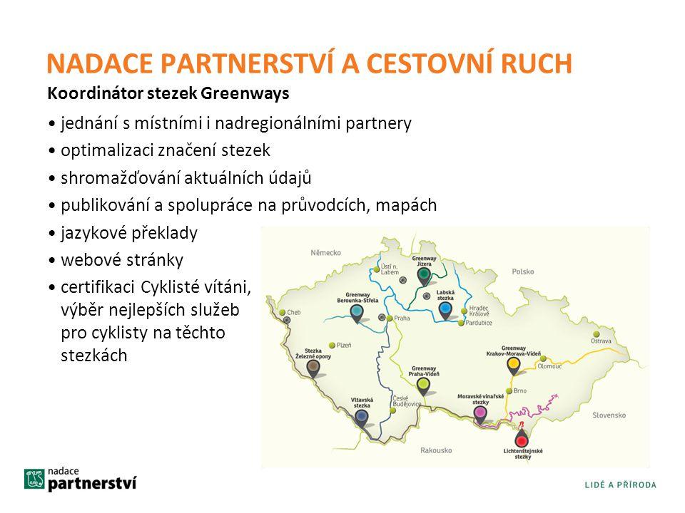 •jednání s místními i nadregionálními partnery •optimalizaci značení stezek •shromažďování aktuálních údajů •publikování a spolupráce na průvodcích, m