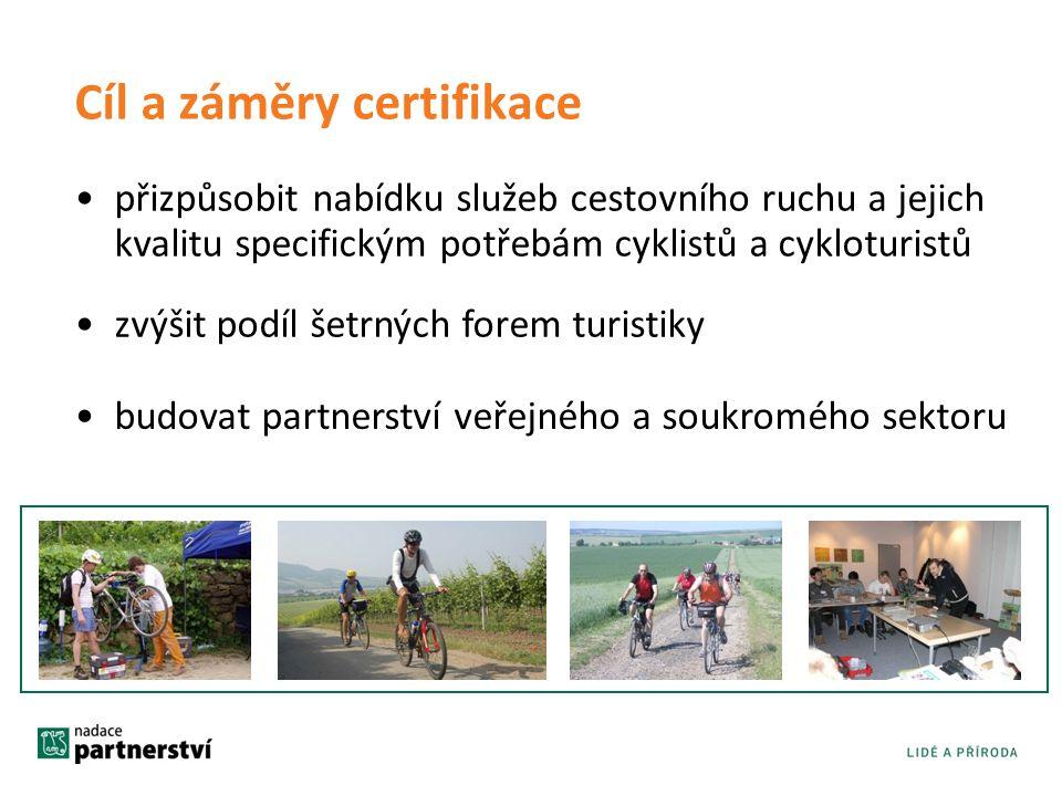 Cíl a záměry certifikace •přizpůsobit nabídku služeb cestovního ruchu a jejich kvalitu specifickým potřebám cyklistů a cykloturistů •zvýšit podíl šetr