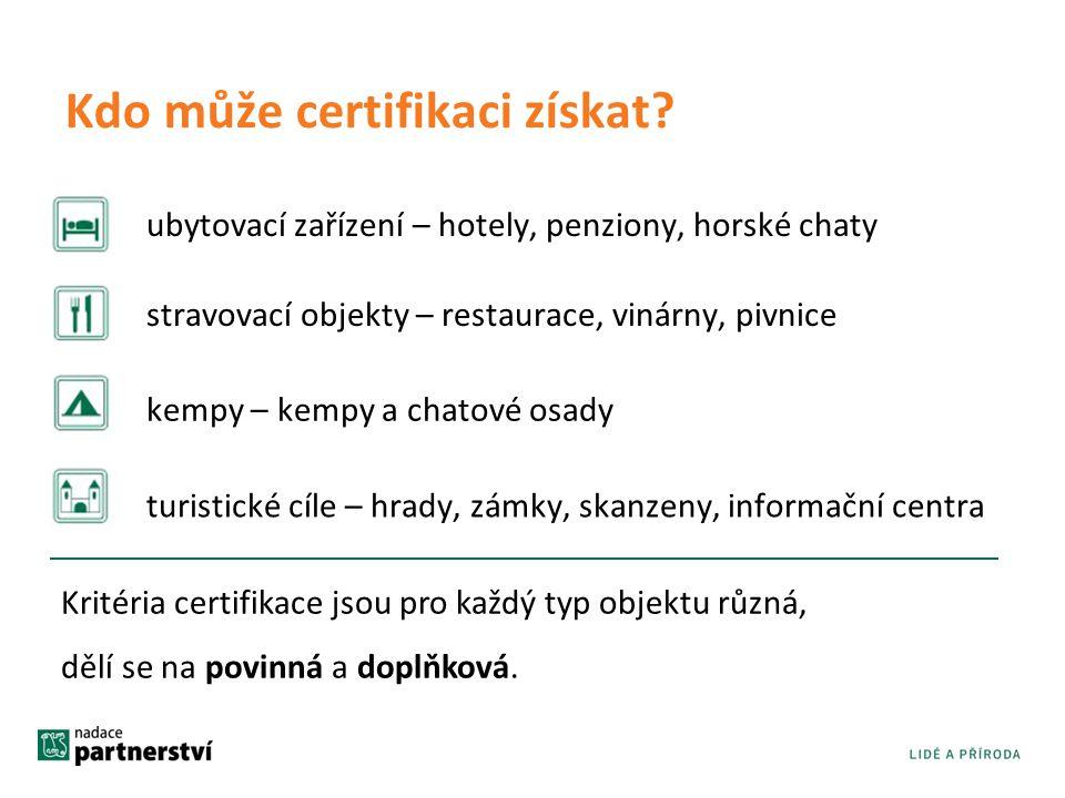 Kdo může certifikaci získat? ubytovací zařízení – hotely, penziony, horské chaty Kritéria certifikace jsou pro každý typ objektu různá, dělí se na pov