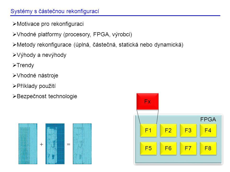 Systémy s částečnou rekonfigurací  Motivace pro rekonfiguraci  Vhodné platformy (procesory, FPGA, výrobci)  Metody rekonfigurace (úplná, částečná, statická nebo dynamická)  Výhody a nevýhody  Trendy  Vhodné nástroje  Příklady použití  Bezpečnost technologie F1 FPGA F2 F3 F4 F5 F6 F7 F8 Fx
