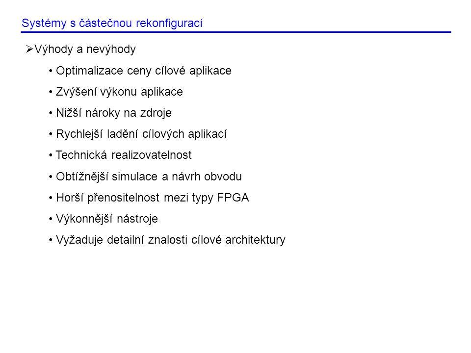 Systémy s částečnou rekonfigurací  Trendy • Interní rekonfigurace • Maximalizace využití čipu • Vznik nových nástrojů • Snaha o popis s vyšší formou abstrakce • Modularizace • Eliminace ovlivnění jedné části struktury druhou v samotném čipu • Optimalizace designu proti chybám  Vhodné nástroje • RecoBus – Volně dostupný nástroj • PlanAhead – Xilinx • Quartus – Altera