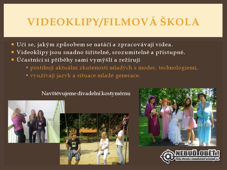 VIDEOKLIPY/FILMOVÁ ŠKOLA  Učí se, jakým způsobem se natáčí a zpracovávají videa.  Videoklipy jsou snadno šiřitelné, srozumitelné a přístupné.  Účas