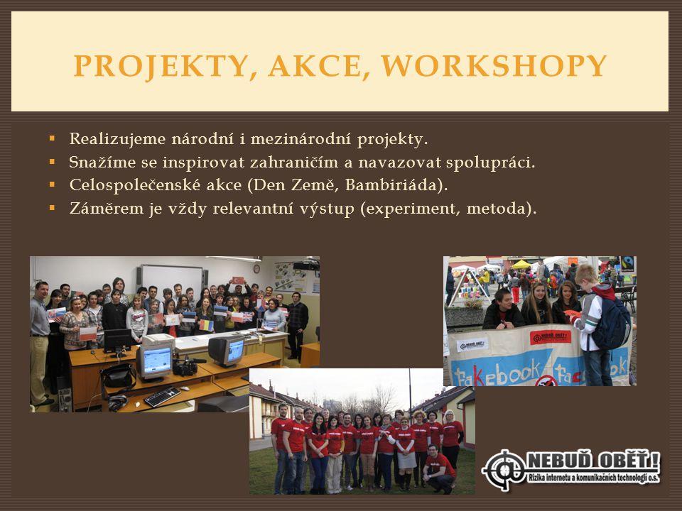 PROJEKTY, AKCE, WORKSHOPY  Realizujeme národní i mezinárodní projekty.  Snažíme se inspirovat zahraničím a navazovat spolupráci.  Celospolečenské a