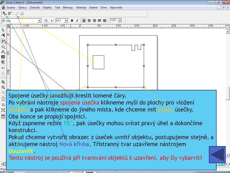 Spojené úsečky umožňují kreslit lomené čáry. Po vybrání nástroje spojená úsečka klikneme myší do plochy pro vložení začátku a pak klikneme do jiného m