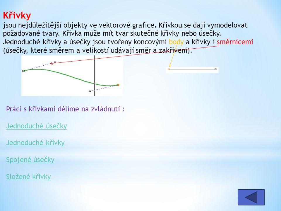 Křivky jsou nejdůležitější objekty ve vektorové grafice.