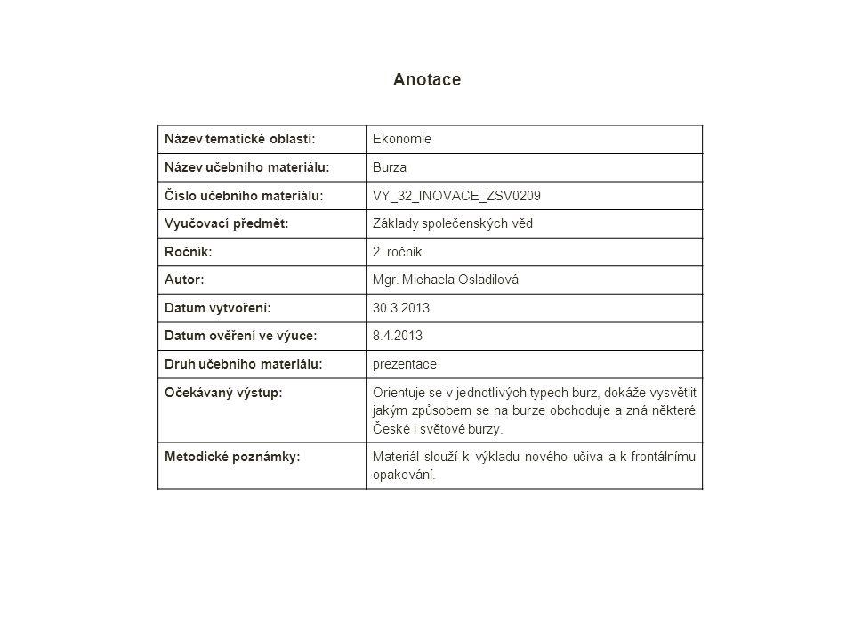 Anotace Název tematické oblasti: Ekonomie Název učebního materiálu: Burza Číslo učebního materiálu: VY_32_INOVACE_ZSV0209 Vyučovací předmět: Základy společenských věd Ročník: 2.