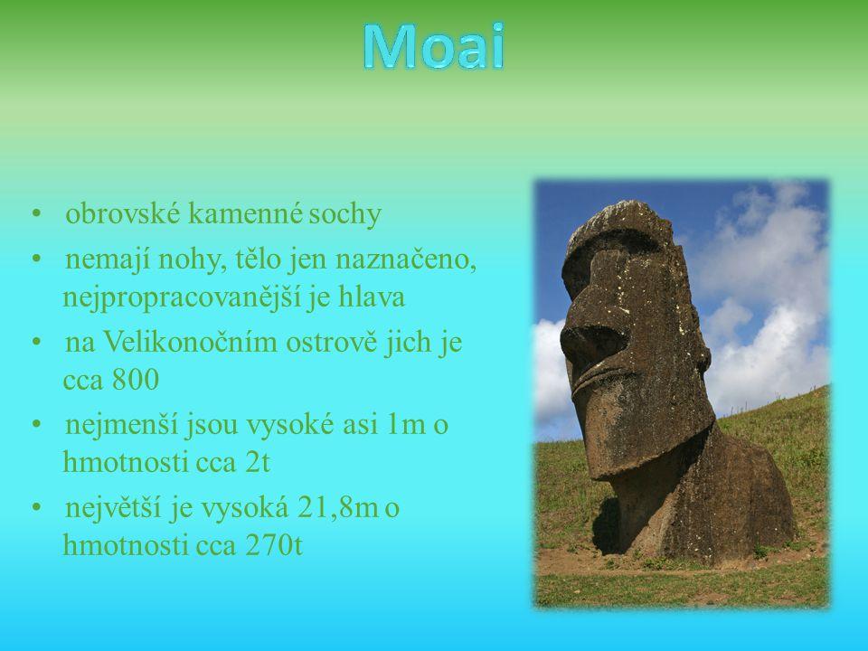 • obrovské kamenné sochy • nemají nohy, tělo jen naznačeno, nejpropracovanější je hlava • na Velikonočním ostrově jich je cca 800 • nejmenší jsou vyso