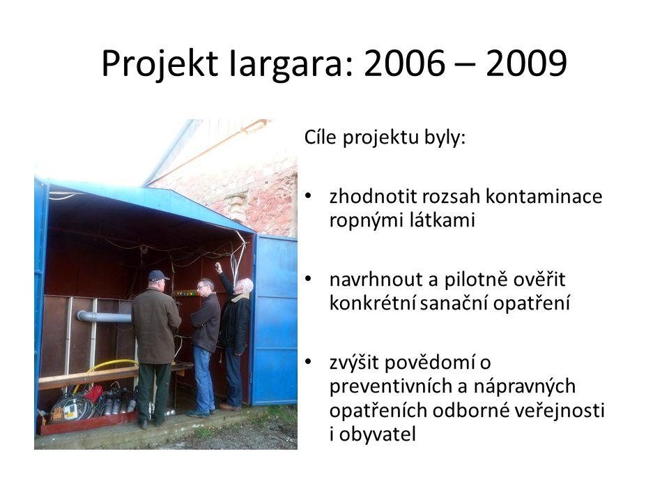 Projekt Iargara: 2006 – 2009 Cíle projektu byly: • zhodnotit rozsah kontaminace ropnými látkami • navrhnout a pilotně ověřit konkrétní sanační opatření • zvýšit povědomí o preventivních a nápravných opatřeních odborné veřejnosti i obyvatel