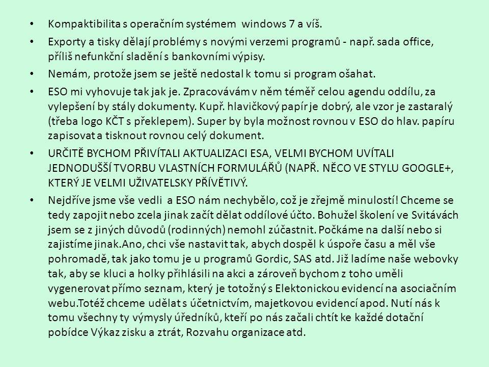 • Kompaktibilita s operačním systémem windows 7 a víš. • Exporty a tisky dělají problémy s novými verzemi programů - např. sada office, příliš nefunkč