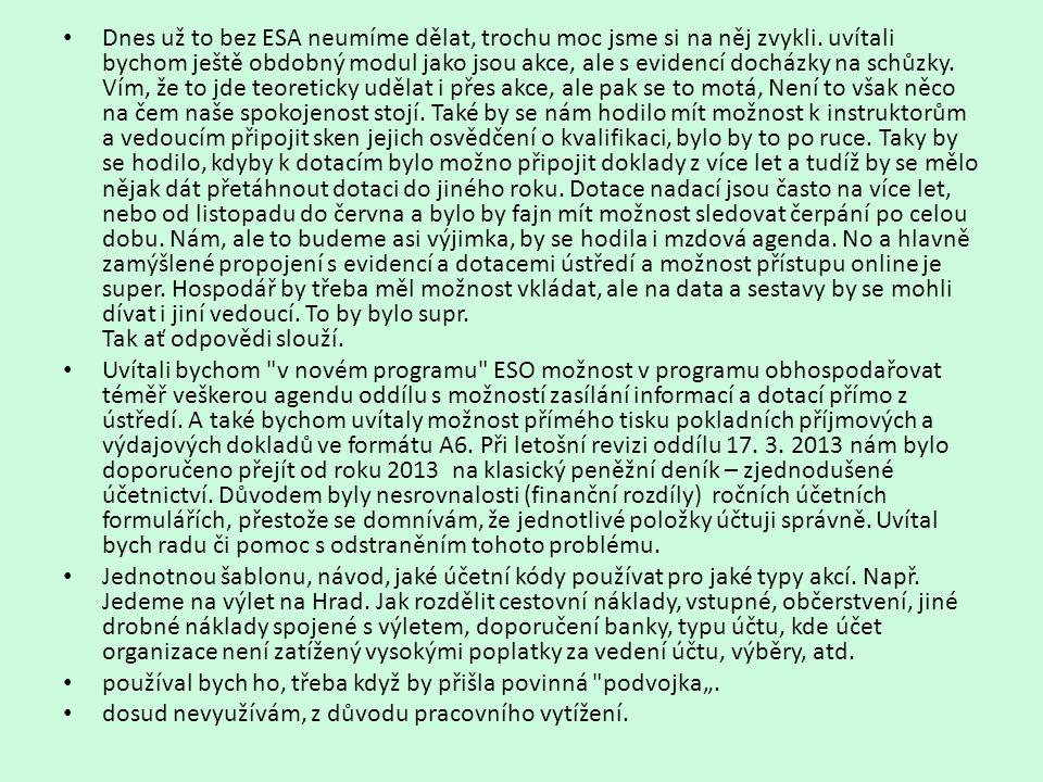 • Dnes už to bez ESA neumíme dělat, trochu moc jsme si na něj zvykli. uvítali bychom ještě obdobný modul jako jsou akce, ale s evidencí docházky na sc