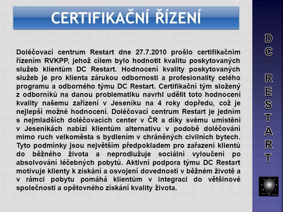 Doléčovací centrum Restart dne 27.7.2010 prošlo certifikačním řízením RVKPP, jehož cílem bylo hodnotit kvalitu poskytovaných služeb klientům DC Restar