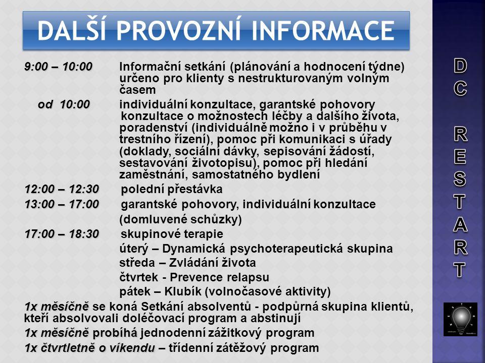 9:00 – 10:00 9:00 – 10:00 Informační setkání (plánování a hodnocení týdne) určeno pro klienty s nestrukturovaným volným časem od 10:00 od 10:00 indivi