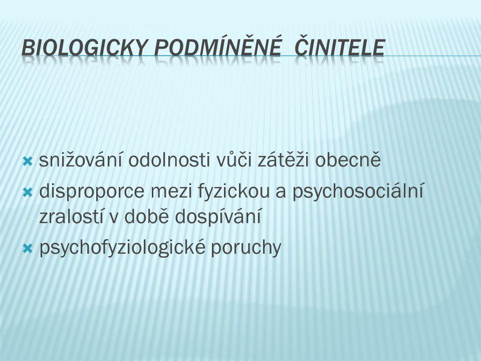  snižování odolnosti vůči zátěži obecně  disproporce mezi fyzickou a psychosociální zralostí v době dospívání  psychofyziologické poruchy