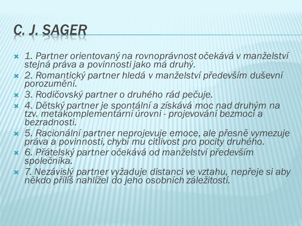  1. Partner orientovaný na rovnoprávnost očekává v manželství stejná práva a povinnosti jako má druhý.  2. Romantický partner hledá v manželství pře