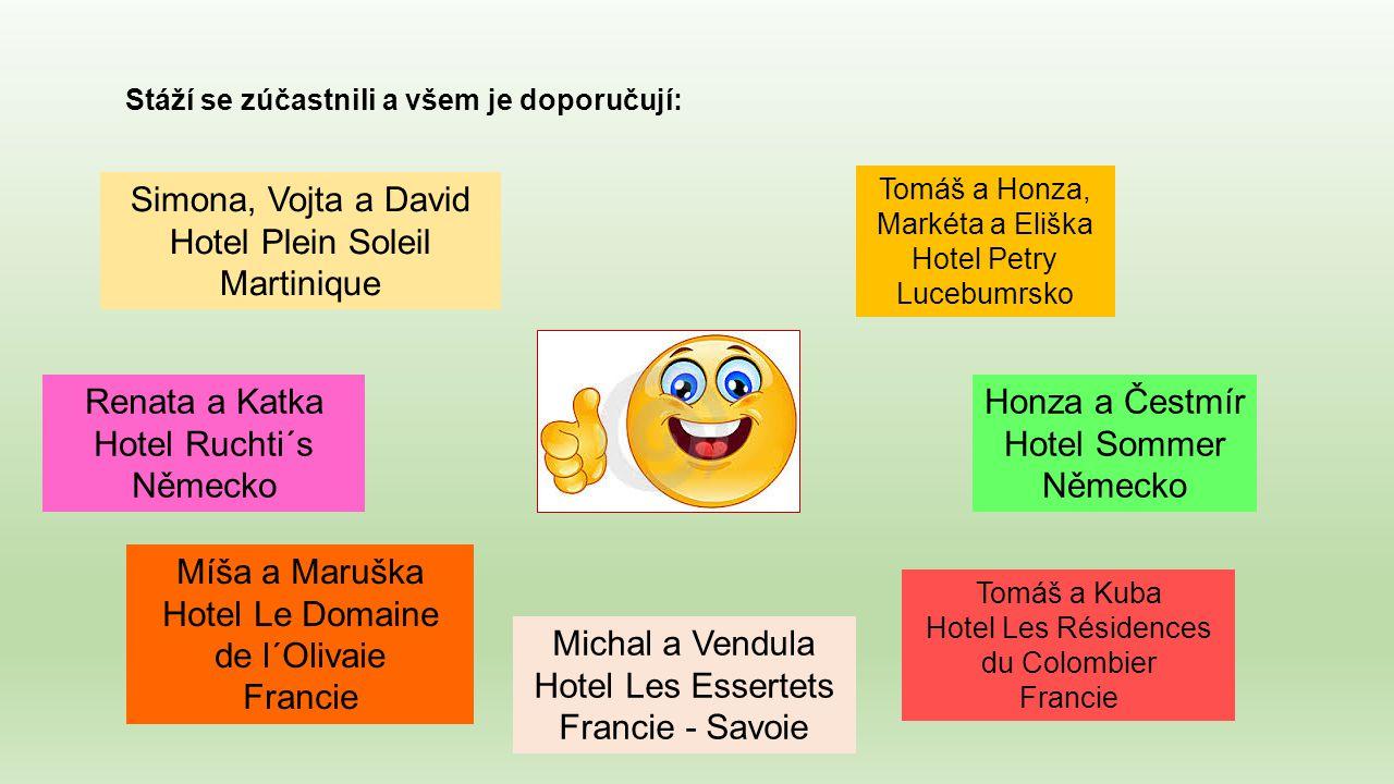 Stáží se zúčastnili a všem je doporučují: Simona, Vojta a David Hotel Plein Soleil Martinique Tomáš a Honza, Markéta a Eliška Hotel Petry Lucebumrsko