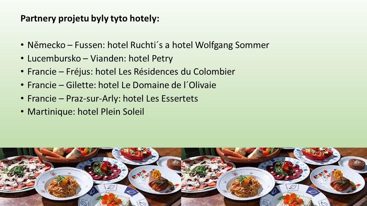 Partnery projetu byly tyto hotely: • Německo – Fussen: hotel Ruchti´s a hotel Wolfgang Sommer • Lucembursko – Vianden: hotel Petry • Francie – Fréjus: