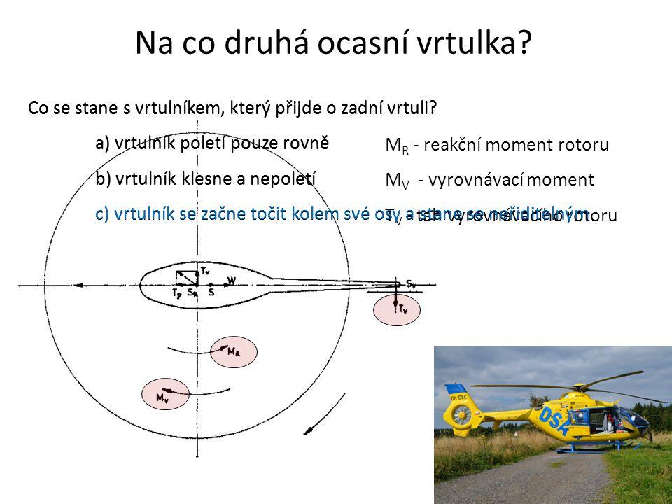 Na co druhá ocasní vrtulka? M R - reakční moment rotoru M V - vyrovnávací moment T V - tah vyrovnávacího rotoru Co se stane s vrtulníkem, který přijde