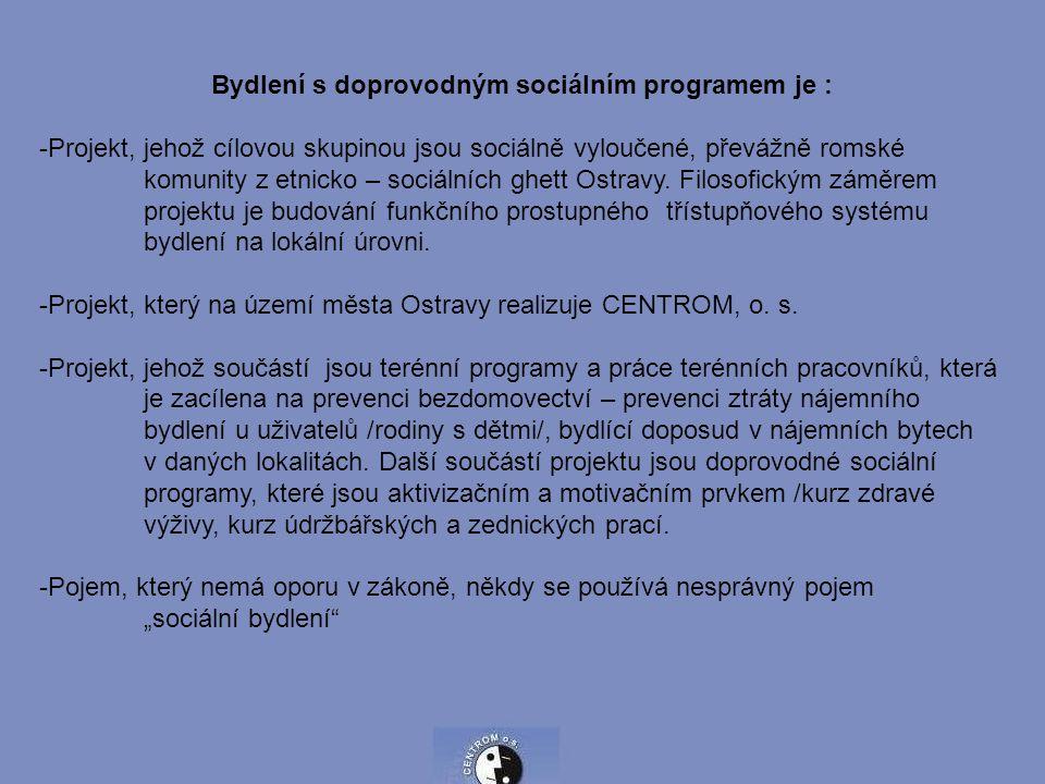 Bydlení s doprovodným sociálním programem je : -Projekt, jehož cílovou skupinou jsou sociálně vyloučené, převážně romské komunity z etnicko – sociálních ghett Ostravy.