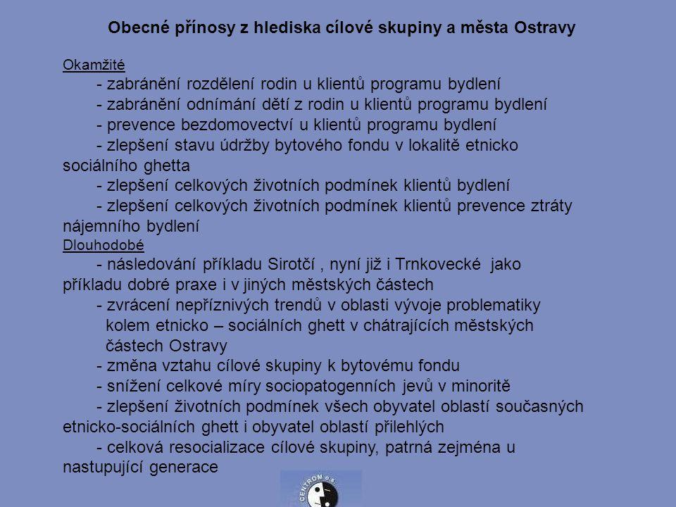 Obecné přínosy z hlediska cílové skupiny a města Ostravy Okamžité - zabránění rozdělení rodin u klientů programu bydlení - zabránění odnímání dětí z r