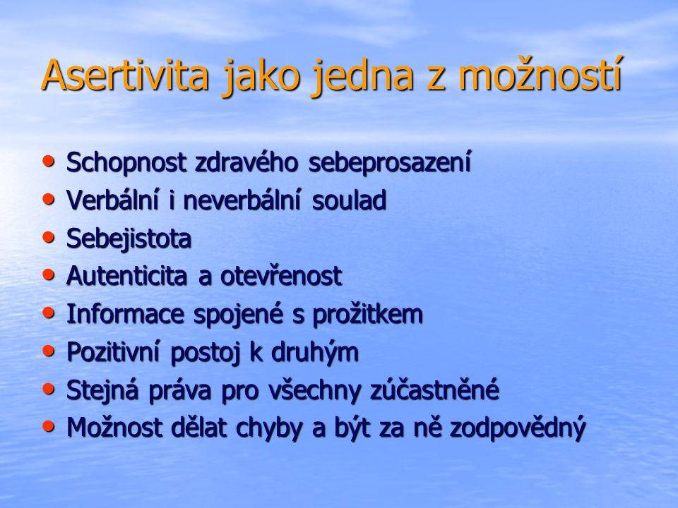 Asertivita jako jedna z možností • Schopnost zdravého sebeprosazení • Verbální i neverbální soulad • Sebejistota • Autenticita a otevřenost • Informac