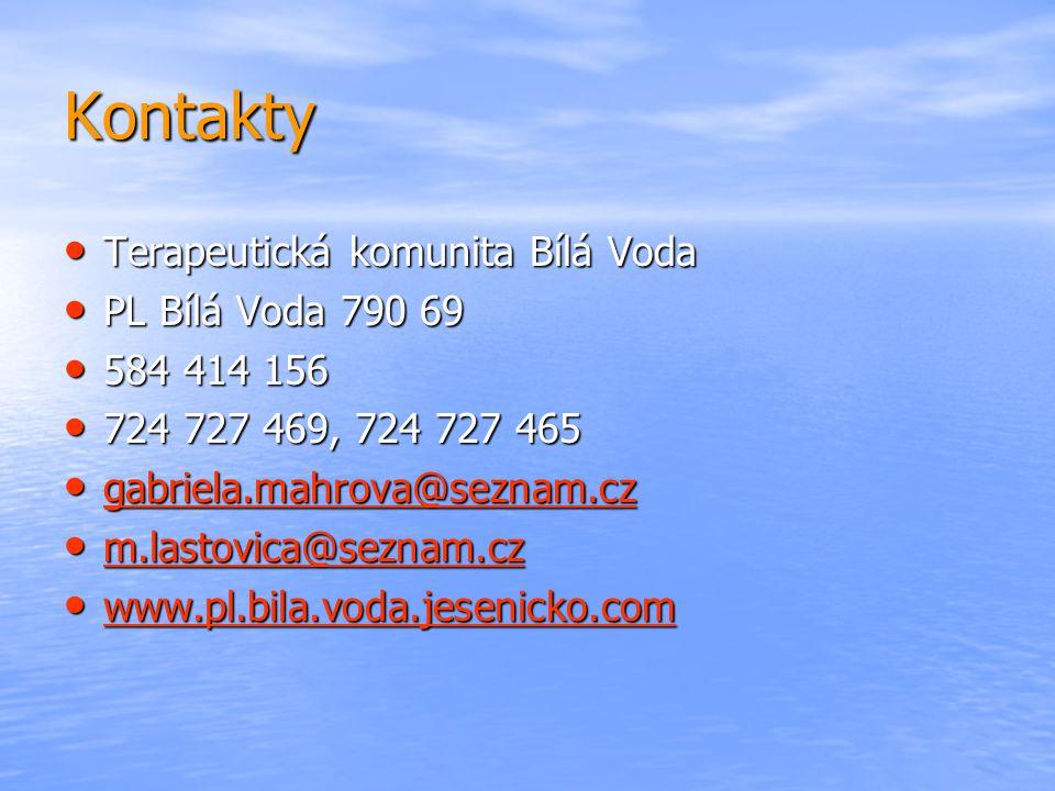 Kontakty • Terapeutická komunita Bílá Voda • PL Bílá Voda 790 69 • 584 414 156 • 724 727 469, 724 727 465 • gabriela.mahrova@seznam.cz gabriela.mahrov