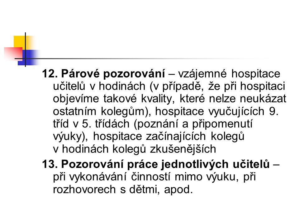 12. Párové pozorování – vzájemné hospitace učitelů v hodinách (v případě, že při hospitaci objevíme takové kvality, které nelze neukázat ostatním kole