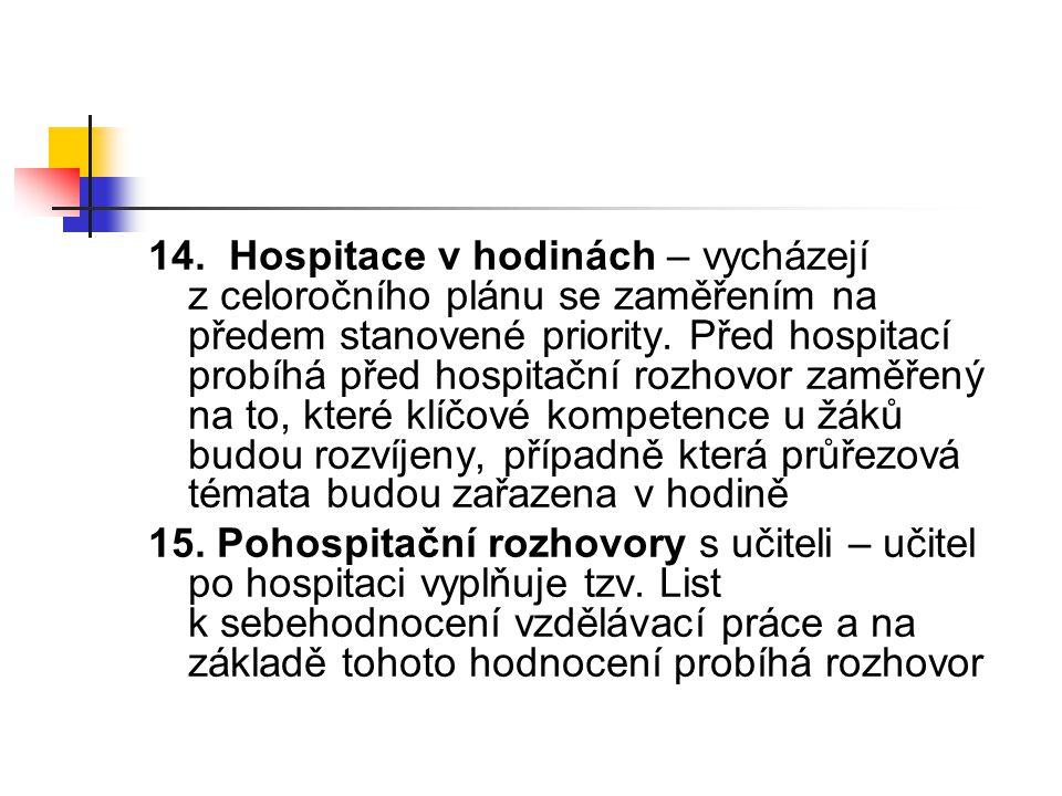 14. Hospitace v hodinách – vycházejí z celoročního plánu se zaměřením na předem stanovené priority. Před hospitací probíhá před hospitační rozhovor za