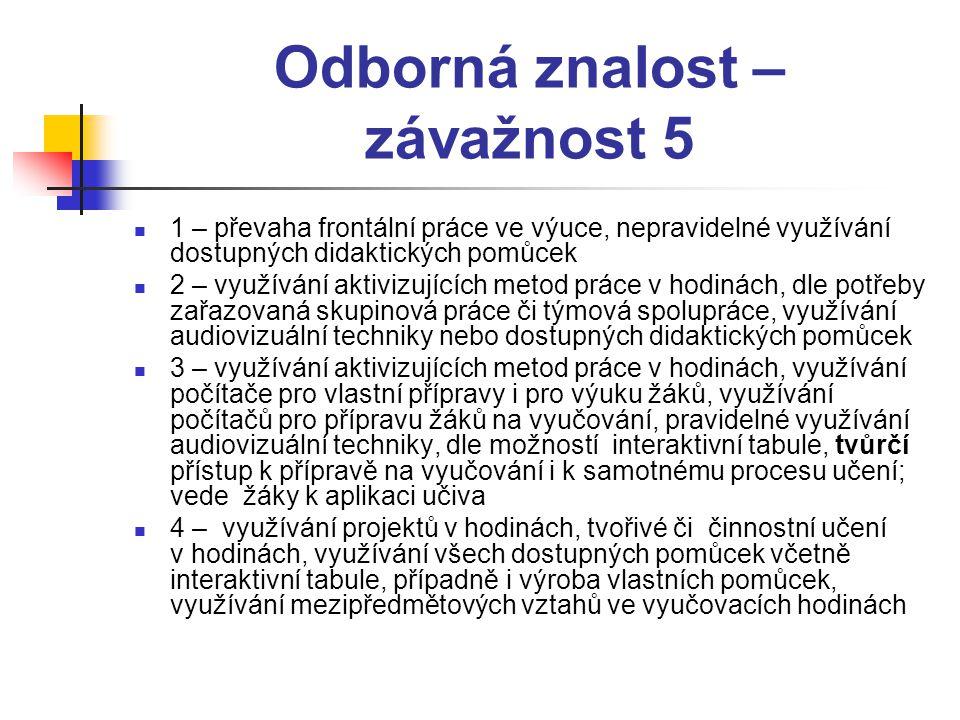 Odborná znalost – závažnost 5  1 – převaha frontální práce ve výuce, nepravidelné využívání dostupných didaktických pomůcek  2 – využívání aktivizuj