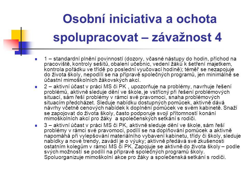 Osobní iniciativa a ochota spolupracovat – závažnost 4  1 – standardní plnění povinností (dozory, včasné nástupy do hodin, příchod na pracoviště, kon