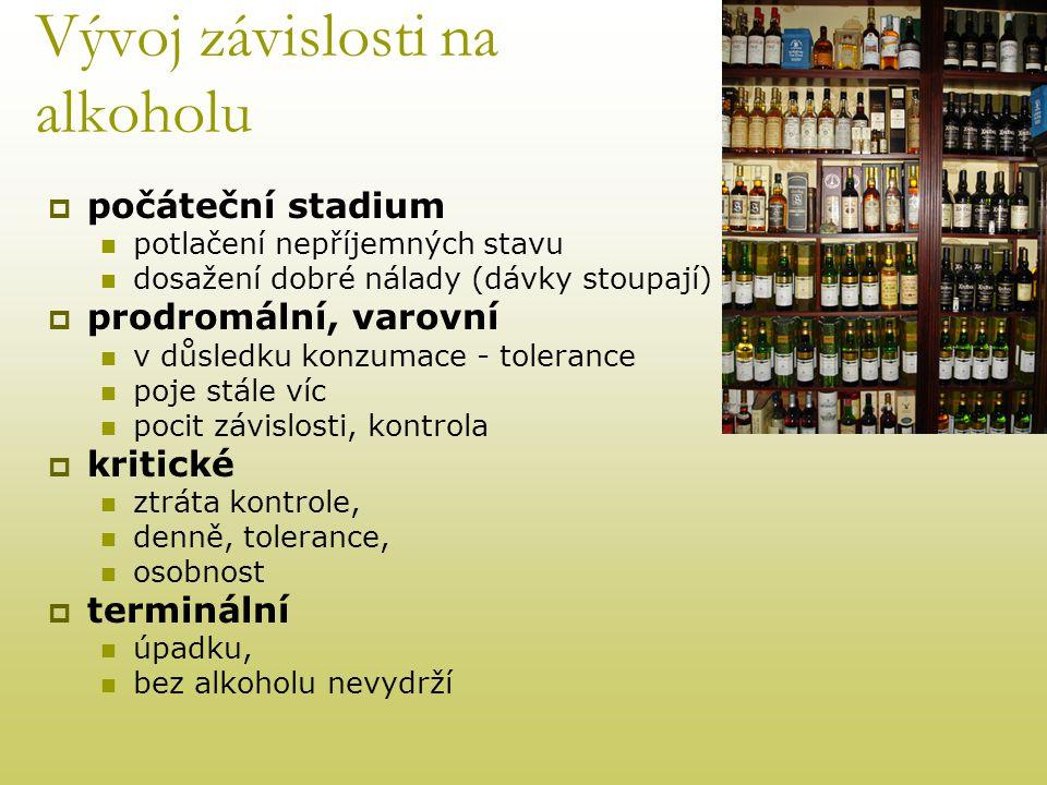 Vývoj závislosti na alkoholu  počáteční stadium  potlačení nepříjemných stavu  dosažení dobré nálady (dávky stoupají)  prodromální, varovní  v dů