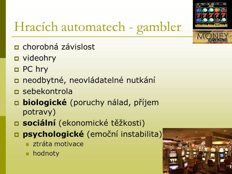 Hracích automatech - gambler  chorobná závislost  videohry  PC hry  neodbytné, neovládatelné nutkání  sebekontrola  biologické (poruchy nálad, p