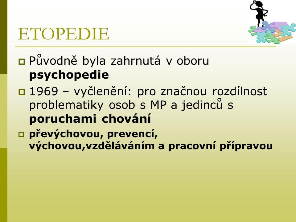 ETOPEDIE  Původně byla zahrnutá v oboru psychopedie  1969 – vyčlenění: pro značnou rozdílnost problematiky osob s MP a jedinců s poruchami chování 