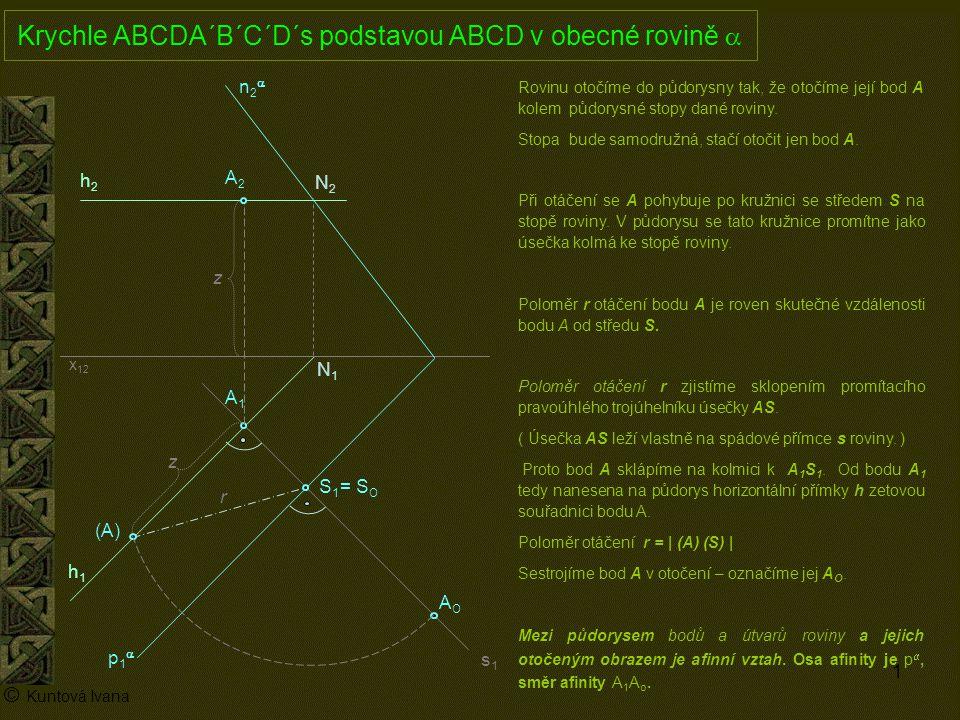2 A1A1 p1p1 n2n2 x 12 (A) A2A2 AOAO h2h2 h1h1 © Kuntová Ivana C1C1 Krychle ABCDA´B´C´D´s podstavou ABCD v obecné rovině  je dána úhlopříčkou AC C2C2 Mezi půdorysem bodů a útvarů roviny a jejich otočeným obrazem je afinní vztah.
