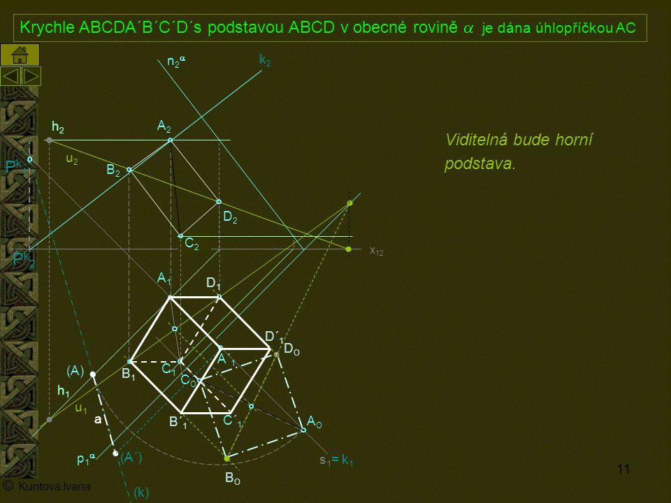 11 A1A1 p1p1 n2n2 x 12 (A) A2A2 AOAO s1= k1s1= k1 h2h2 h1h1 © Kuntová Ivana C1C1 Krychle ABCDA´B´C´D´s podstavou ABCD v obecné rovině  je dána