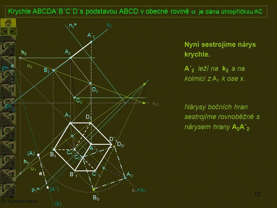 12 A1A1 p1p1 n2n2 x 12 (A) A2A2 AOAO s1= k1s1= k1 h2h2 h1h1 © Kuntová Ivana C1C1 Krychle ABCDA´B´C´D´s podstavou ABCD v obecné rovině  je dána