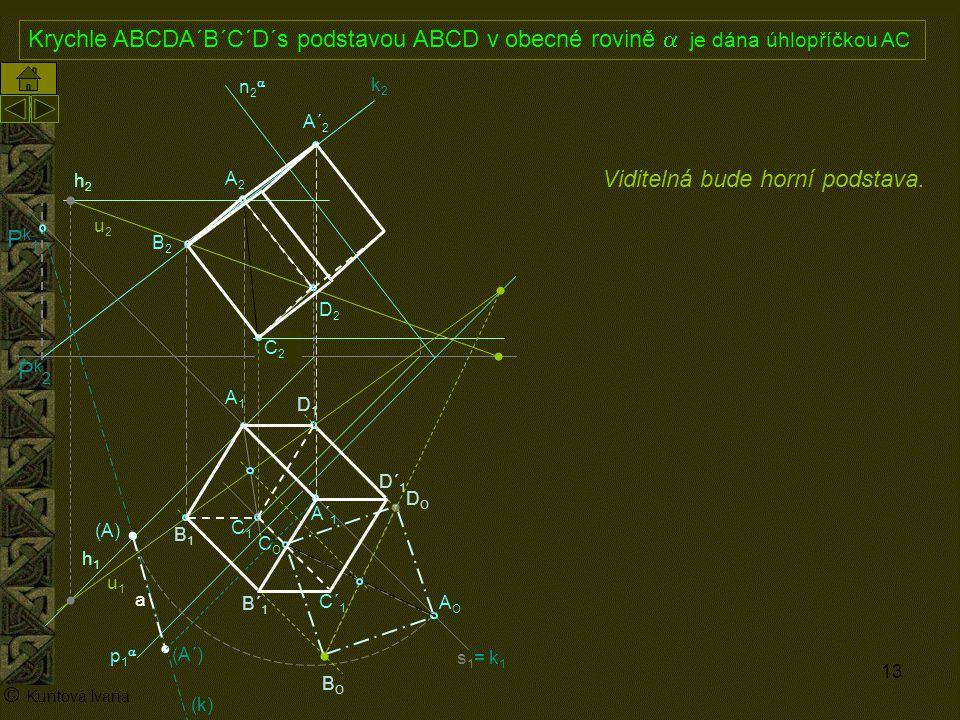 13 A1A1 p1p1 n2n2 (A) A2A2 AOAO s1= k1s1= k1 h2h2 h1h1 © Kuntová Ivana C1C1 Krychle ABCDA´B´C´D´s podstavou ABCD v obecné rovině  je dána úhlop