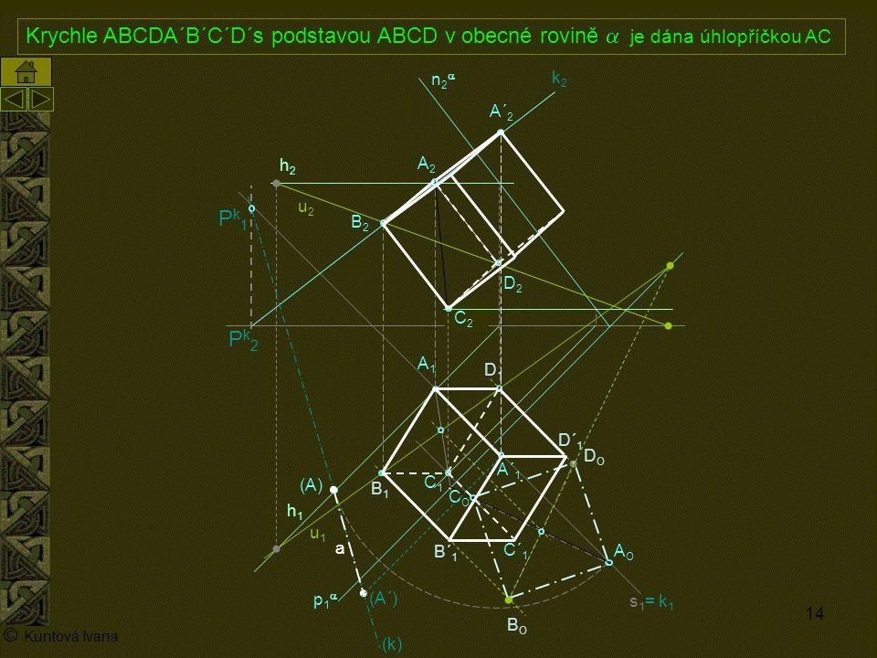 14 A1A1 p1p1 n2n2 (A) A2A2 AOAO s1= k1s1= k1 h2h2 h1h1 © Kuntová Ivana C1C1 Krychle ABCDA´B´C´D´s podstavou ABCD v obecné rovině  je dána úhlop