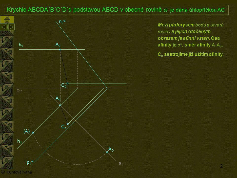 3 A1A1 p1p1 n2n2 x 12 (A) A2A2 AOAO h2h2 h1h1 © Kuntová Ivana C1C1 Krychle ABCDA´B´C´D´s podstavou ABCD v obecné rovině  je dána úhlopříčkou AC C2C2 Mezi půdorysem bodů a útvarů roviny a jejich otočeným obrazem je afinní vztah.