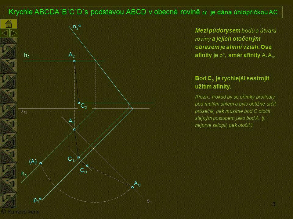 3 A1A1 p1p1 n2n2 x 12 (A) A2A2 AOAO h2h2 h1h1 © Kuntová Ivana C1C1 Krychle ABCDA´B´C´D´s podstavou ABCD v obecné rovině  je dána úhlopříčkou AC