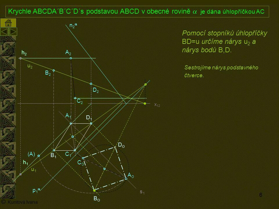7 A1A1 p1p1 n2n2 x 12 (A) A2A2 AOAO h2h2 h1h1 © Kuntová Ivana C1C1 Krychle ABCDA´B´C´D´s podstavou ABCD v obecné rovině  je dána úhlopříčkou AC C2C2 Sestrojíme nárys podstavného čtverce.