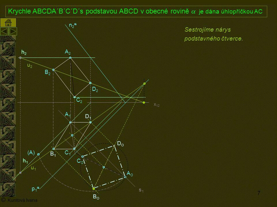8 A1A1 p1p1 n2n2 x 12 (A) A2A2 AOAO s1= k1s1= k1 h2h2 h1h1 © Kuntová Ivana C1C1 Krychle ABCDA´B´C´D´s podstavou ABCD v obecné rovině  je dána úhlopříčkou AC C2C2 Sestrojíme boční hrany krychle.